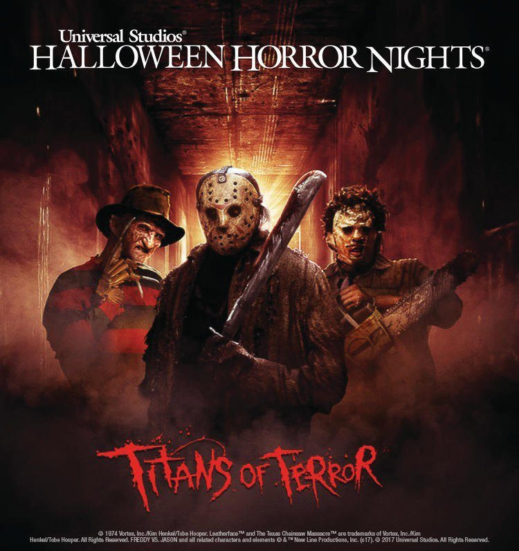 universal studios hollywood unites four slasher film legendsfreddy krueger jason voorhees leatherface and chuckyin two all new terrifying titans of