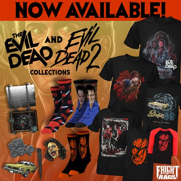 Evil Dead/Evil Dead 2, House/House II, and The Warriors Apparel from Fright-Rags